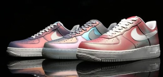 "Sports Lab by atmos 金沢 4/28先行発売! イリディセントアッパーのナイキ エア フォース 1 ロー 07 エレベート 3カラー (NIKE AIR FORCE 1 LOW 07 LV8 ""Iridescent"") [718152-019][823511-403,600]"
