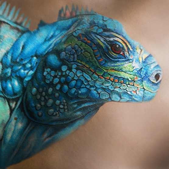 Blue Designs With Iguana Tattoo