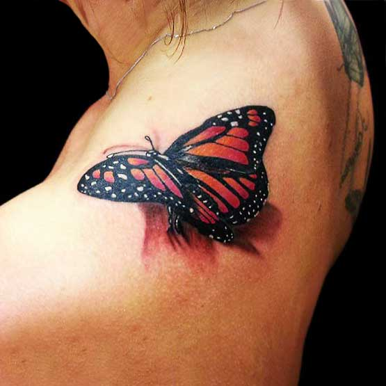 Butterfly tattoos for girl on shoulder