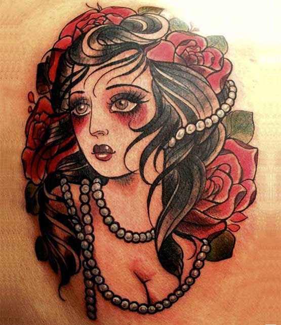 old school tattoo girls