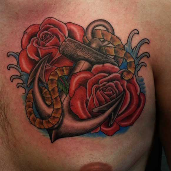 Anchor & Rose Tattoos For Men.