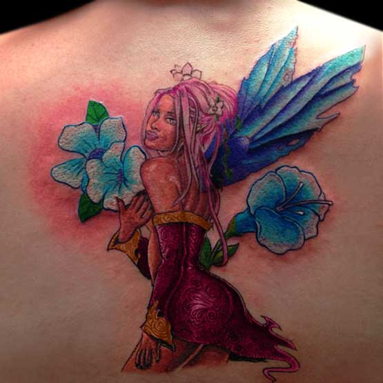 Fairy With Flower Tattoo Designs