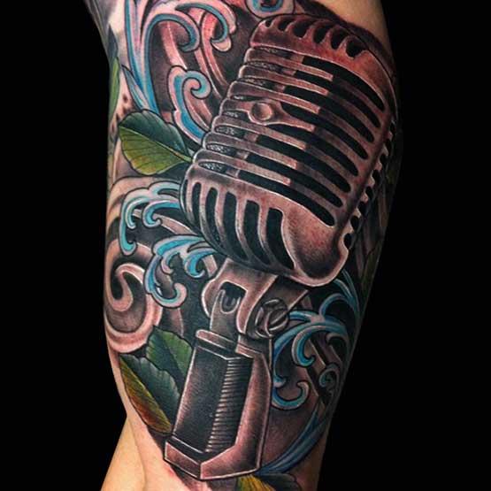 Music Mic Tattoo Designs