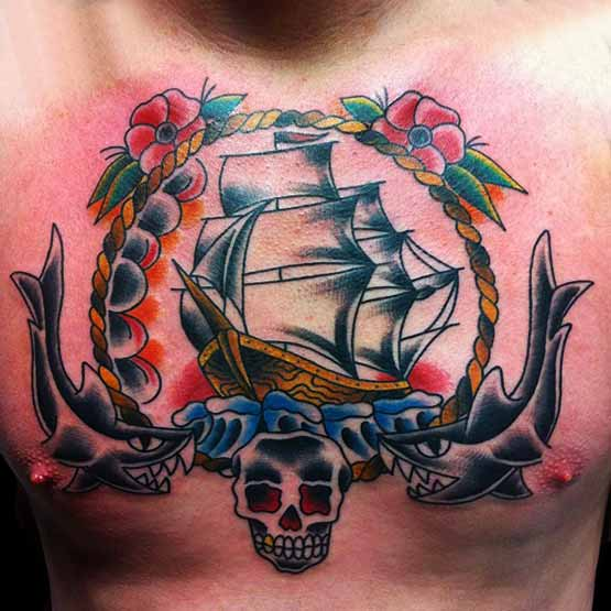 Chest Old School Tattoo Designs For Men