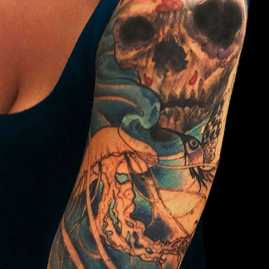 Cool Half Sleeve Skull Tattoo Designs For Women