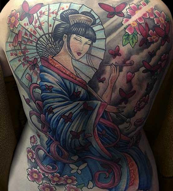 Full Back Geisha Tattoo Designs Women