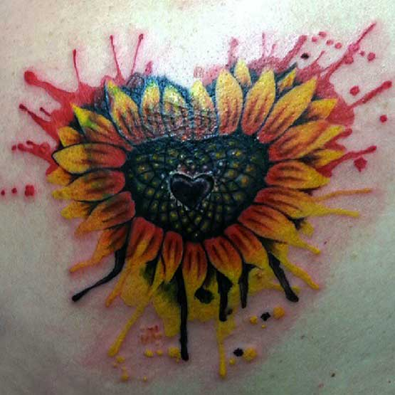 Heart And Sunflower Tattoo Designs