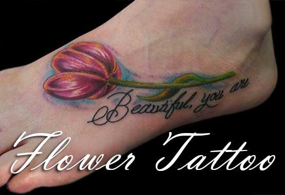 Tulip Flowers Tattoo Designs On Foot