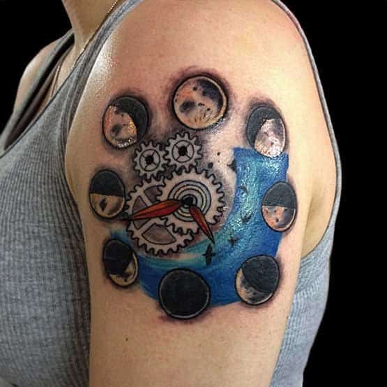 Beautiful Clock Moon Tattoo Designs on Girl