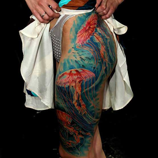 Thigh Colorful Tattoos