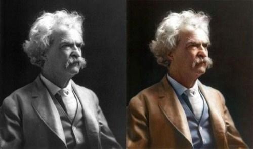 Mark Twain colored photo
