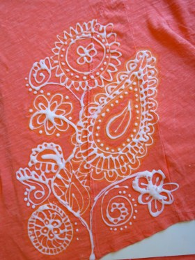 paisley, design, shirt, Damask, t-shirt, bleach art, bleach pen, CLOROX