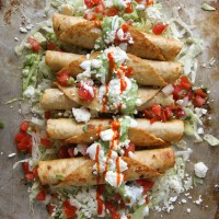 Chicken Flautas with a Spicy Avocado Sauce