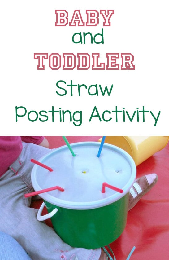 Baby and toddler straw posting fine motor activity
