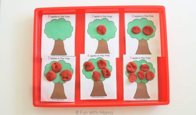Apple Counting Play Dough Mats
