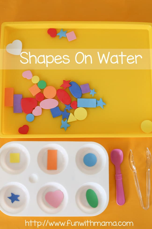 toddler shapes and water fishing preschool activity - fun with mama