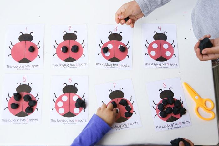 Ladybug Playdoh Math Counting Mats