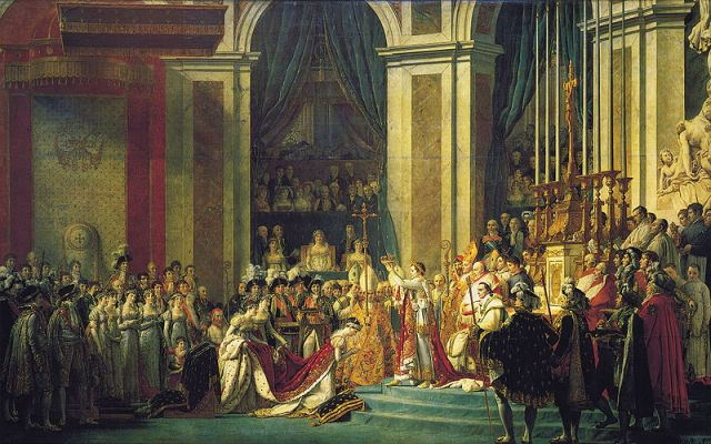 Coronation of Emperor Napoléon I and Coronation of the Empress Josephine in the Notre-Dame de Paris, December 2, 1804. Painted by Jacques-Louis David and Georges Rouget, between 1805 and 1807