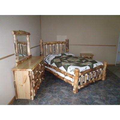 Aspen Log Bedroom Set - Includes Bed, Dresser w/ Mirror, & Nightstand