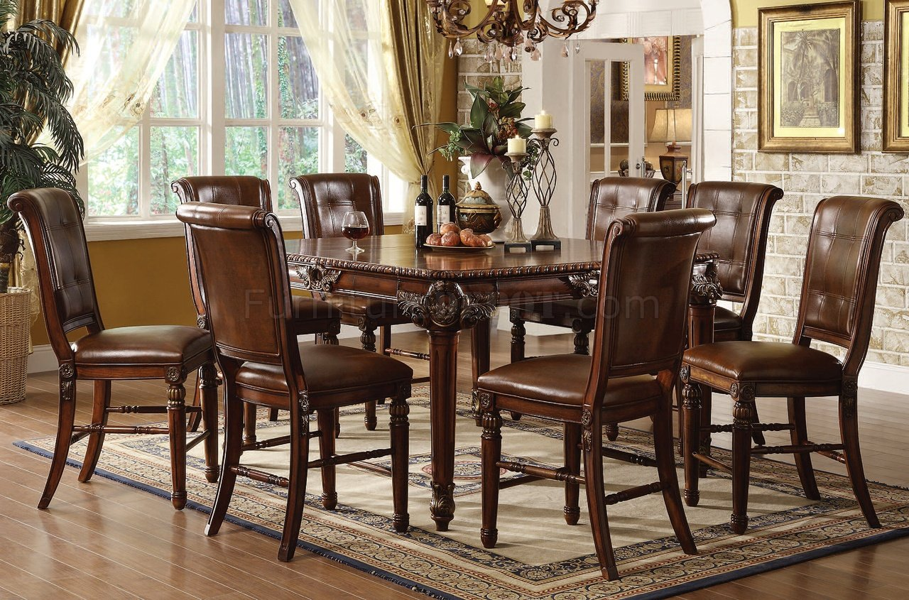 winfred counter height dining table in cherry by acme p counter height kitchen chairs