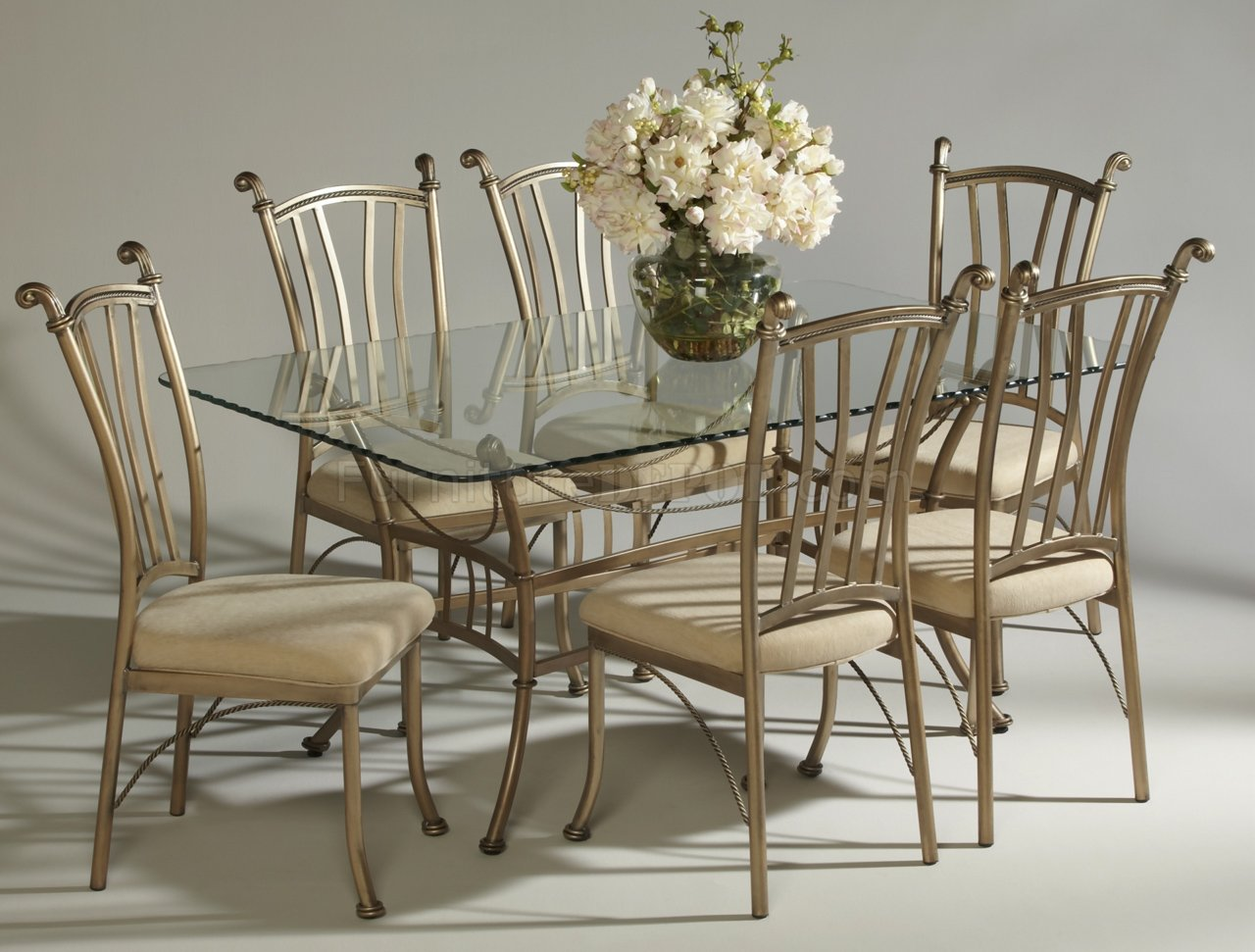 bronze painted steel frame glass top classic 7pc dinette set p wrought iron kitchen chairs