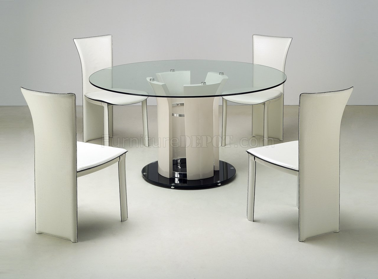 clear round glass top modern dining table woptional chairs p contemporary kitchen tables