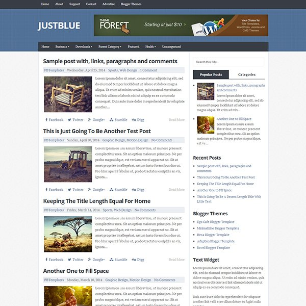 JustBlue Blogger Template