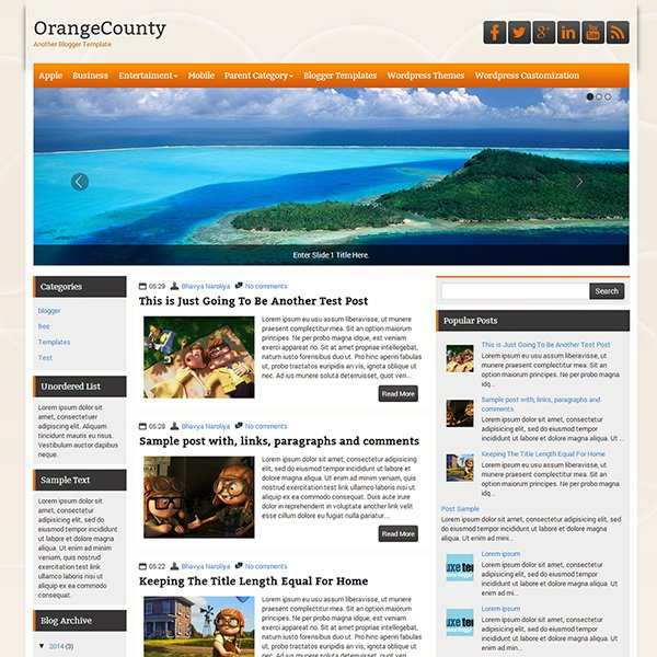 OrangeCounty Blogger Template