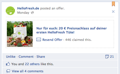 Facebook testet Offers in Deutschland