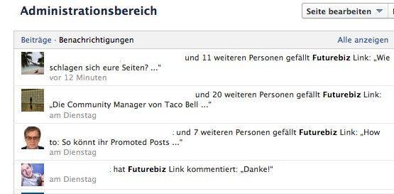 Facebook Administrationsbereich - Benachrichtigungen