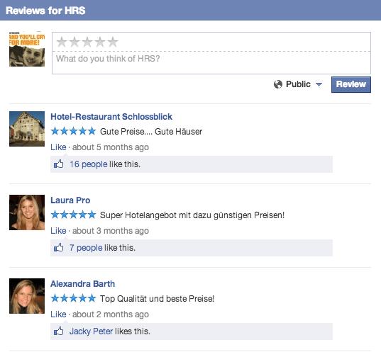 Facebook Ortsseiten - Bewertungen kommentieren