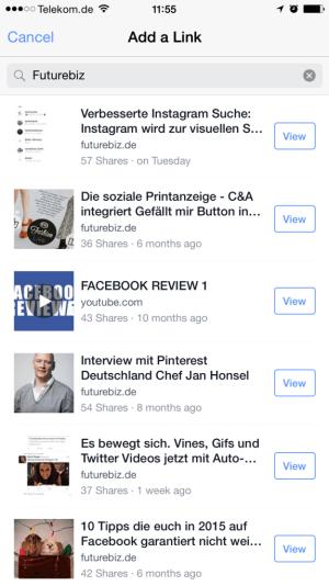 Facebook Add a Link - Leichteres mobiles Teilen von Links