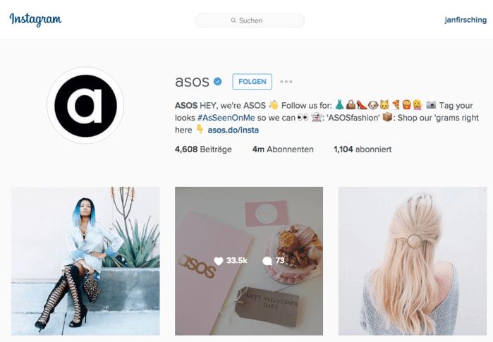 Instagram für Unternehmen - ASOS denkt Instagram first