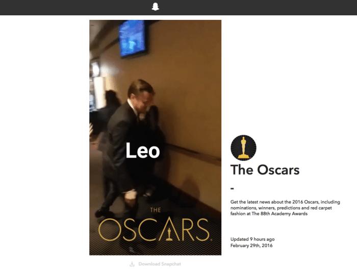 Snapchat veröffentlicht Web-Version zu den Oscars