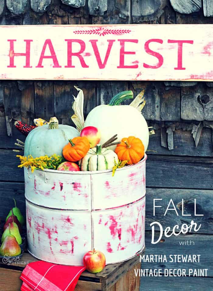 Fall decor with Martha Stewart Vintage Decor Paint #marthastewartcrafts #marthastewart #plaidcrafts