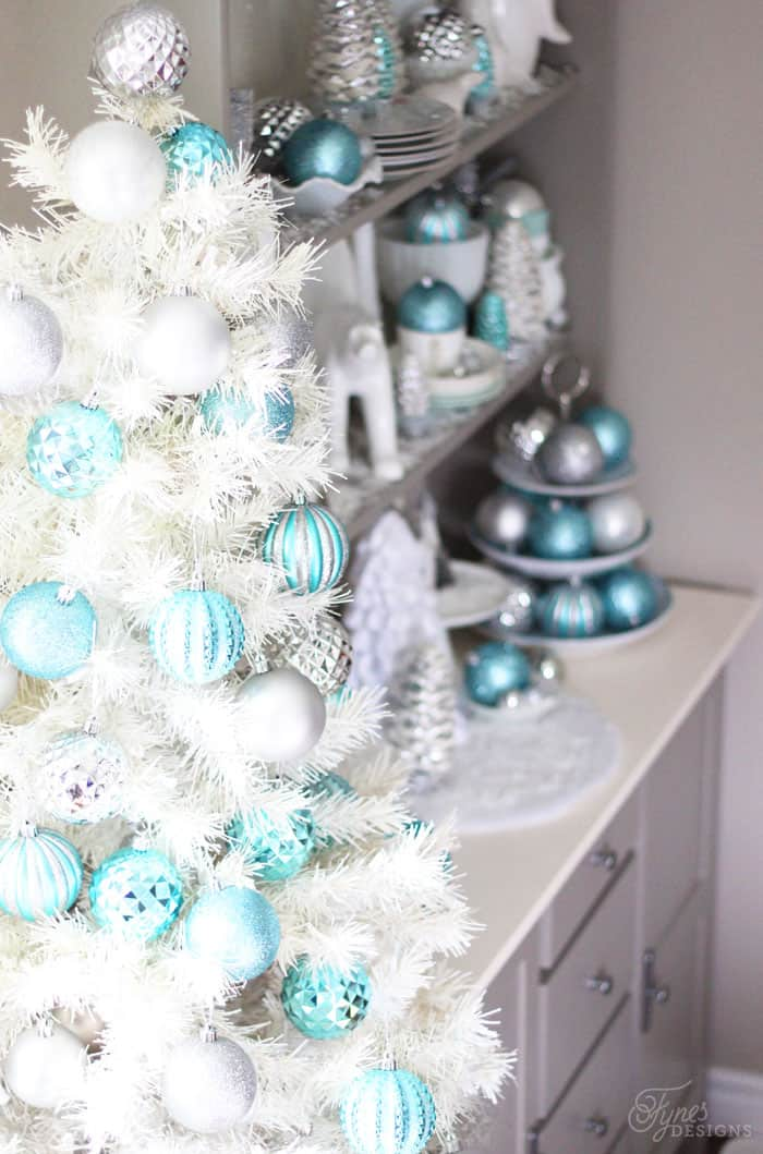 Beautiful Silver and Blue Christmas Hutch