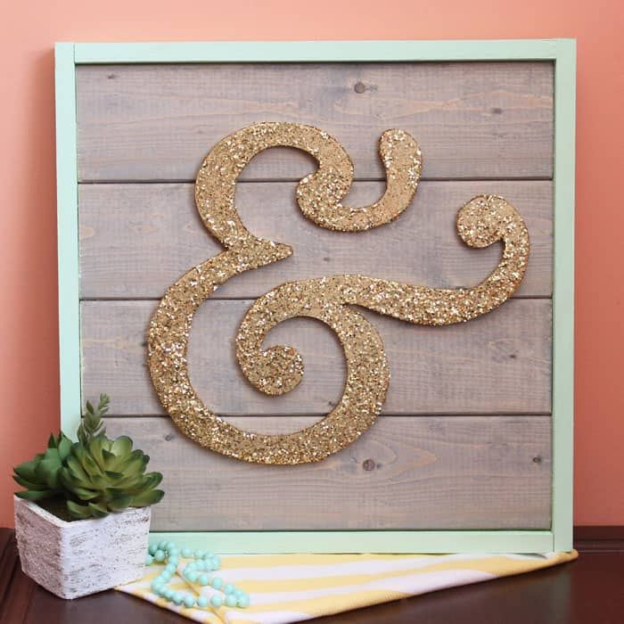 Scroll saw- Ampersand wood sign in glitter gold and mint