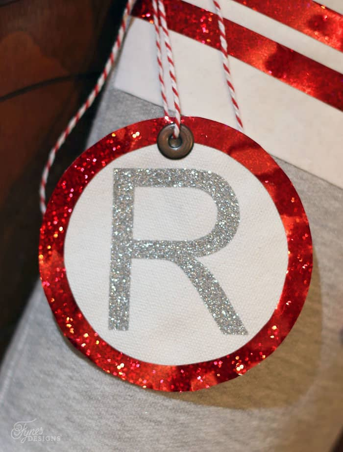 Make fabric tags to personalize Christmas stockings
