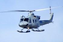 """Un helicóptero utilitario de la IV Brigada Aérea, con asiento en la Base Aérea """"Chabunco"""" de la capital magallánica (foto: Jorge Tima Carrasco)."""
