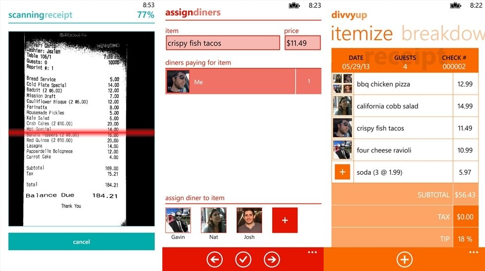 DivvyUp bill splitter app
