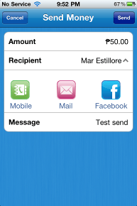 New feature allows users to send money to phonebook, e-mail, and Facebook contacts.