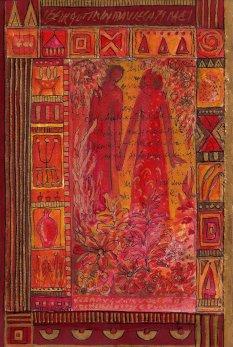 petite chanson d'amour 4 acryl op papier op paneel 30 x 20 cm