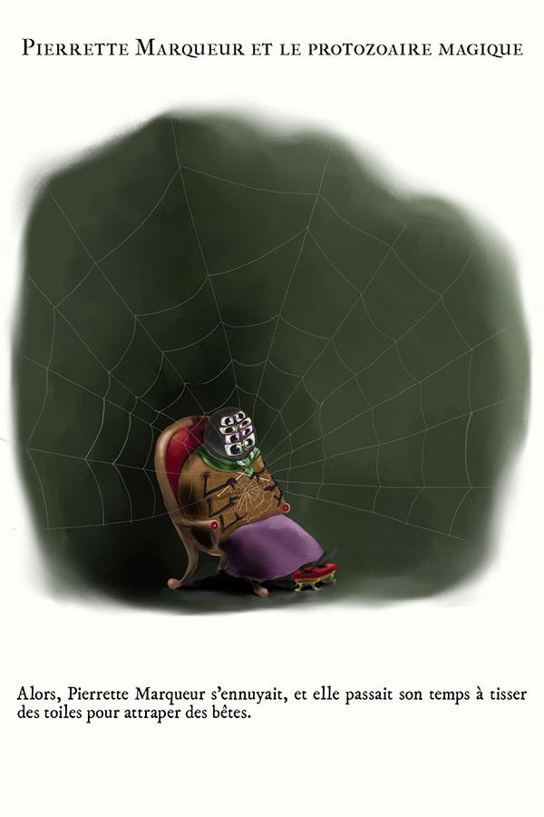 araignée qui tricote son fil
