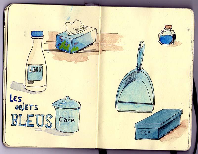 les objets bleus