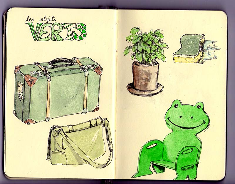 les objets verts