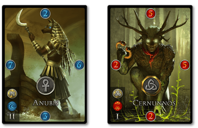 Egyptian and Celtic pantheon cards from Immortal