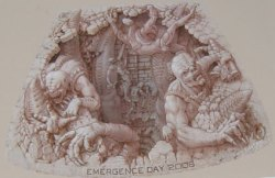 This is the sketch that Wenner worked from depicting Locust Emerging from a grub hole, it's not colored.