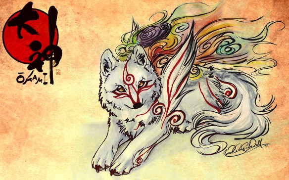 Amaterasu from Okami. Art style of the game has been captured perfectly