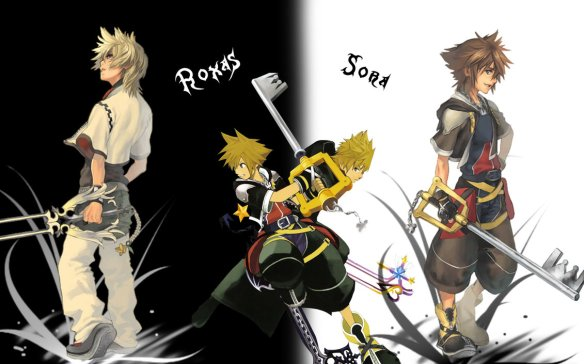 Kingdom Hearts 2 wallpaper frim the PS2 Features Roxas and Sora both with a Keyblade