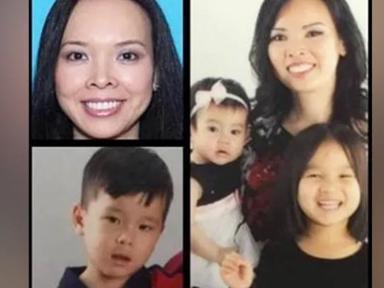 Christine Woo and children Lauren, 5, Nathan, 3, and
